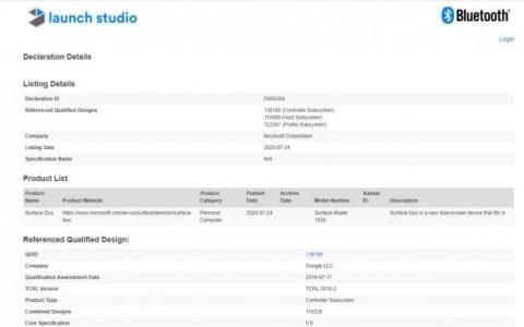 Microsoft Surface Duo获得蓝牙SIG认证
