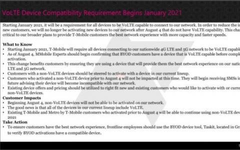 TMobile将需要兼容VoLTE的设备来进行未来的线路激活