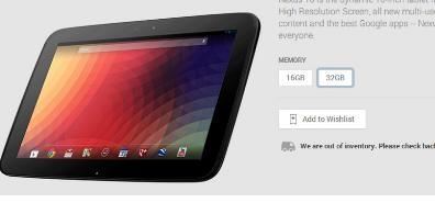 Google的10英寸平板电脑Nexus10仅在32GB型号的GooglePlay商店中可用