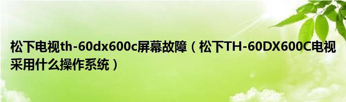 松下电视th-60dx600c屏幕故障(松下TH-60DX600C电视采用什么操作系统)
