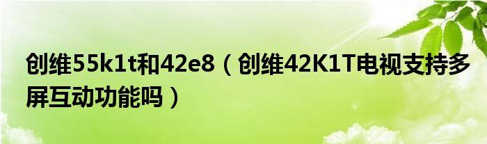 创维55k1t和42e8(创维42K1T电视支持多屏互动功能吗)