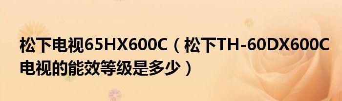松下电视65HX600C(松下TH-60DX600C电视的能效等级是多少)