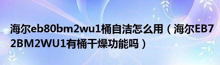 海尔eb80bm2wu1桶自洁怎么用(海尔EB72BM2WU1有桶干燥功能吗)