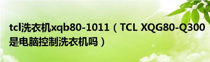 tcl洗衣机xqb80-1011(TCL XQG80-Q300是电脑控制洗衣机吗)