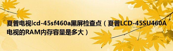 夏普电视lcd-45sf460a黑屏检查点(夏普LCD-45SU460A电视的RAM内存容量是多大)